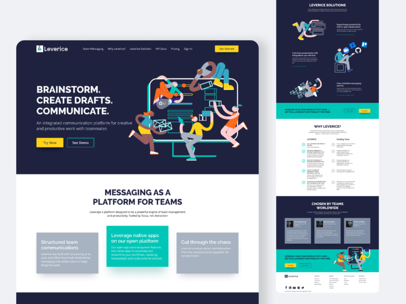 Leverice — Redesign Homepage website web redesign homescreen header graphics ui design concept illustration colorful