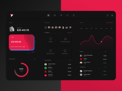 Online banking dashboard night mode wallets dark pink minimal clean design dashboard design dark ui user interface interface web ux ui banking app banking card app dashboard ui dashboad
