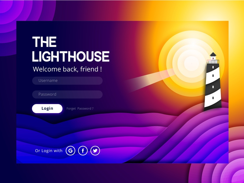 The Lighthouse typography user experience product login lighthouse modern graphic  design interaction design webdesign branding user interface app design vector ux challenge web ux ux  ui illustration ui