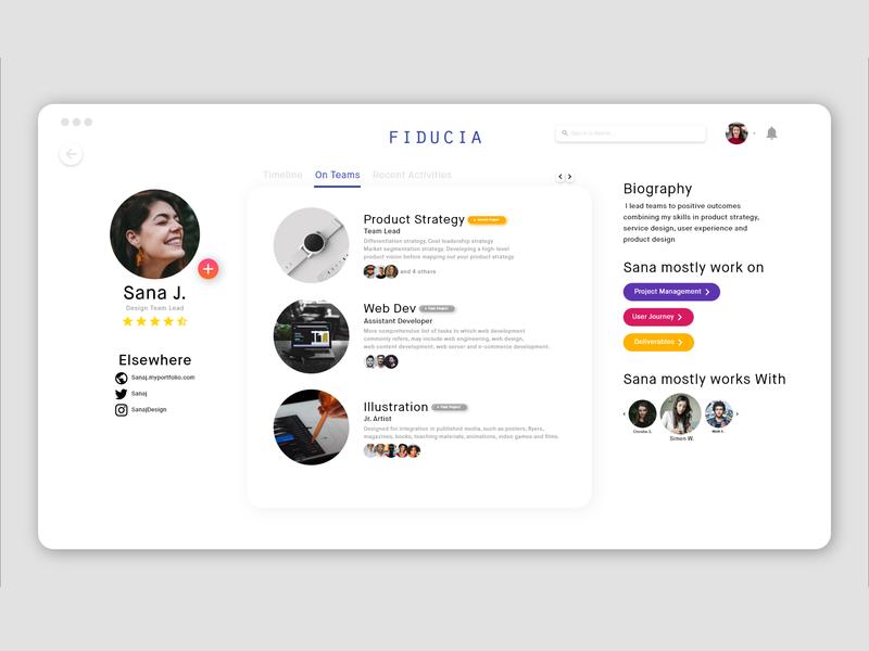 Profile Page DailyUI typography art flat user experience web task team colours profile branding vector modern illustration ux ui app design