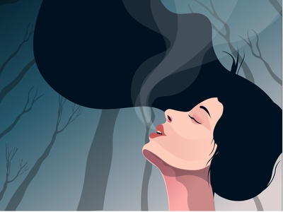Forest Girl lifecycle people outdoor forest smells forest girl character pure air girl illustration girl vector illustration