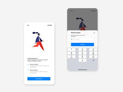 No queue Mobile app phone number Login UI icon web app illustration ux ui