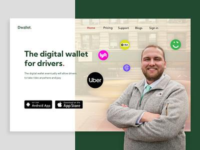 Driver digital wallet landing page adobe xd simple ui ui inspiration webdesign drive driver app minimal website design web ui
