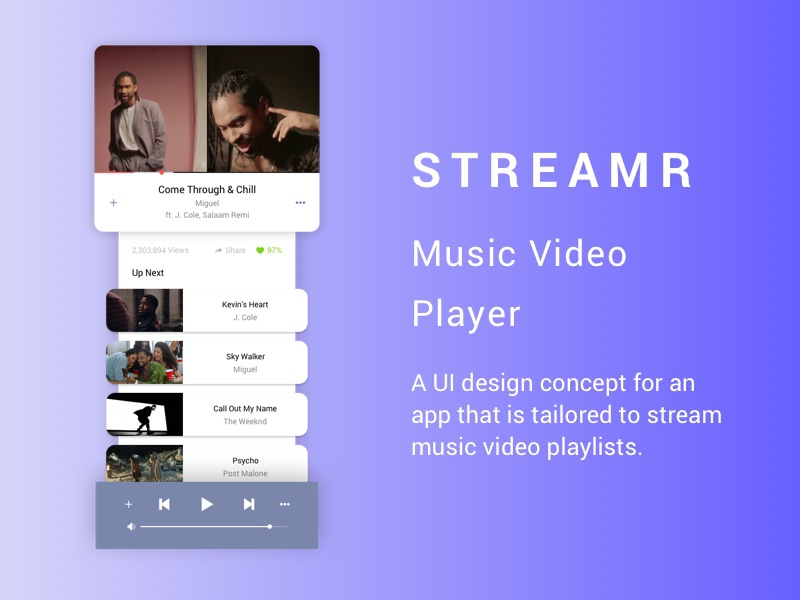 Music Video Player App by Niv on Dribbble
