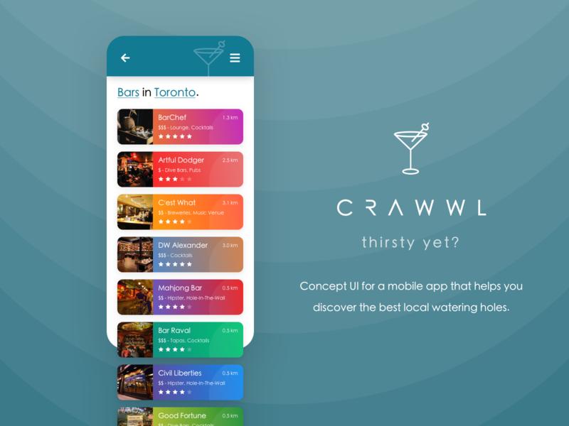 Crawwl - Pub Discovery App Concept bars cocktails pub discover restaurant food iphone concept branding android design modern mobile home colours colour card ux ui app