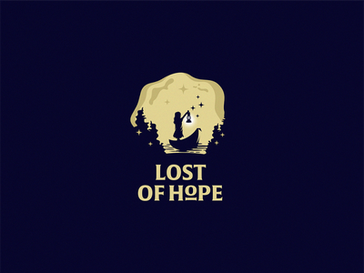 Lost of Hope searching logo lantern logo wood logo forest logo rivers boat lost logo hope logo night logo lonely girl girl cute logo series halloween logo witch logo mystic fairy tales identity logotype logodesign