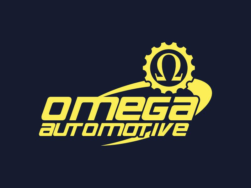 Omega Automotive automotive store speed logodesign branding omega logo gear logo race logo car logo automotive logo retro race timer logo rod classic car automotive auto