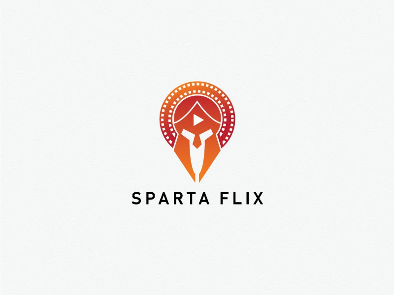 Sparta Flix film logo play youtube cinema flix war warrior mask spartan minimal logodesinger logos icon graphic identity creative branding design logodesign logo