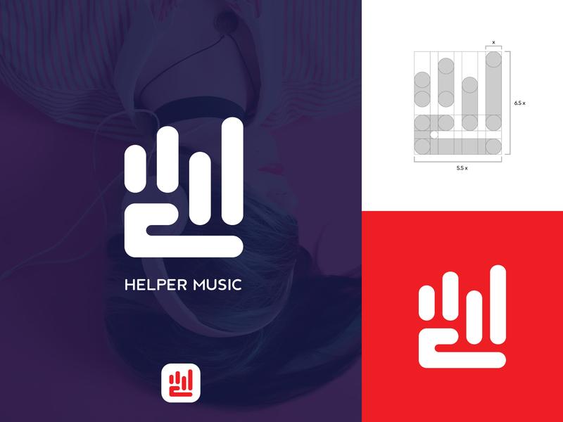 Helper Music give logo hand logo logo grid love logo songs logo streaming logo app logo music app logo logos minimal logo minimalist logo creative creative logo typography identity logotype branding design logodesign logo