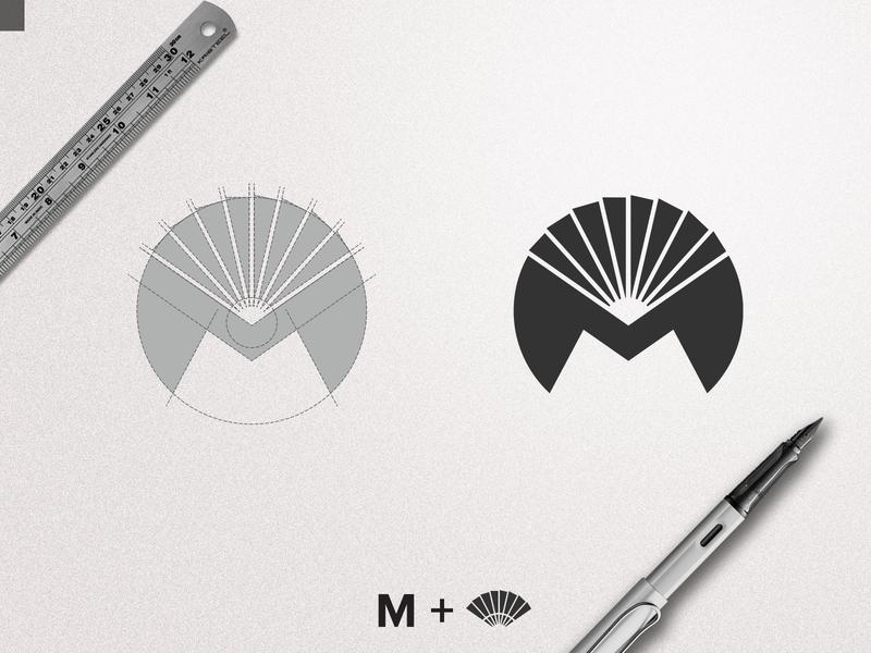 Modern Fan Logo m sketches clever m logo smart logo brand idenity fan logo modern logo mark symbol minimalist logo hand drawn modern fan handmade branding creative logo logotype logodesign logo