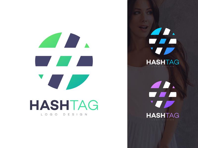 HASHTAG LOGO company logo template design hash taging tag media social logo hashtag