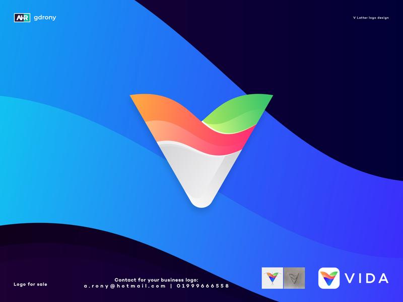 V Letter Logo company logo colorful logo logo design a logo v logo a v letter gradient modern color colorful