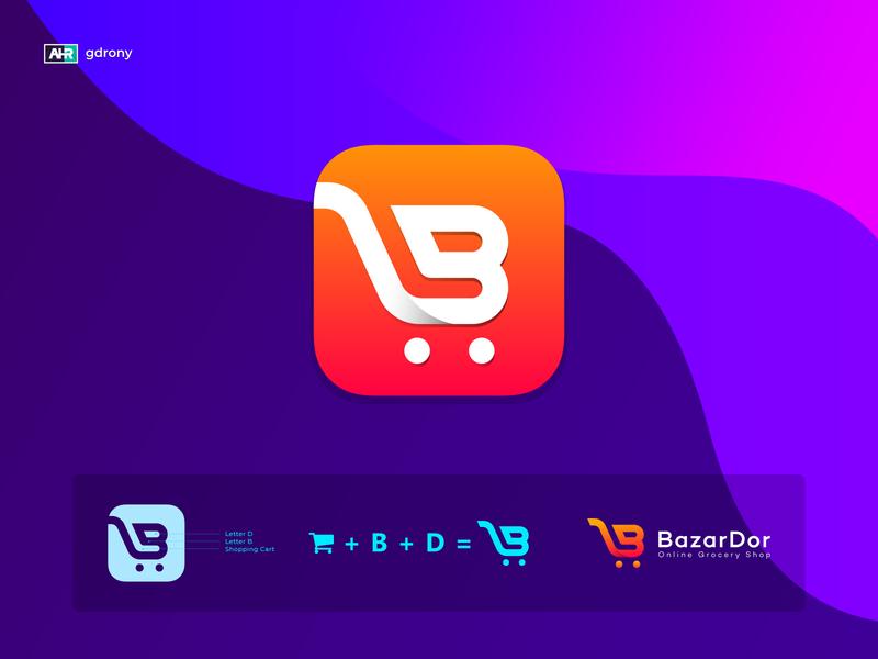 BazarDor Logo Design shopping cart logo design company logo e-commerce app icon app design logo letter d b card logo shopping logo shop bazar card shopping