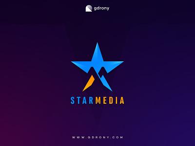 Star Media Logo Design logo design icon graphic design design company logo logo star logo m logo m letter m sky moon star media