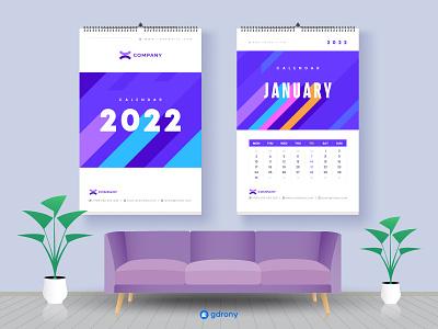 2022 calendar Design with every 12-month 3D text 2022 wall calendar modern clean design calendar 2022