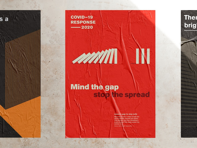 Mind the gap — stop the spread poster united nations covid19 covid branding design