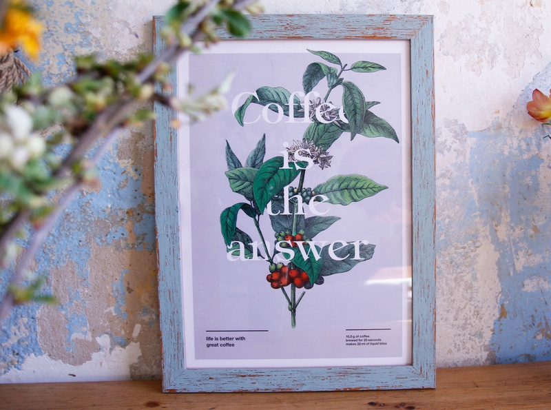 Coffee is the answer side project mood typography graphic design coffee print design