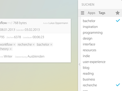 Decks – tag menu