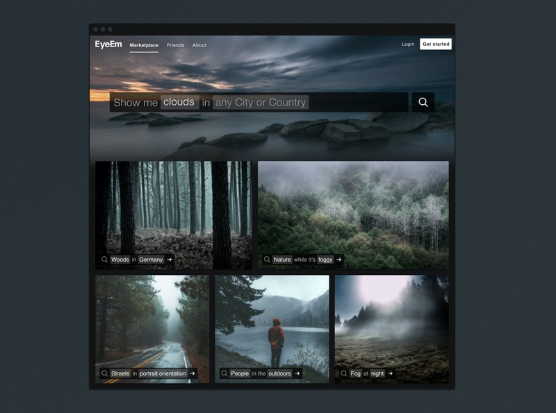 EyeEm Marketplace filters tags images cards dark startup photography search website interface ui