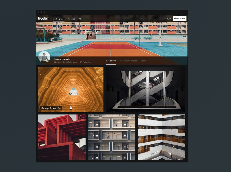 EyeEm User Profile overlay profile photography website interface ui