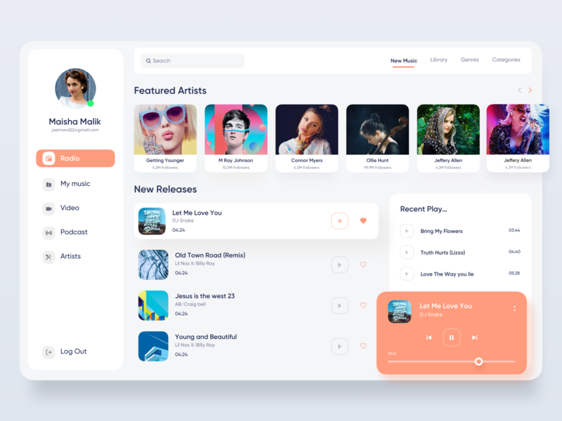 Music Website UI conceptual design colorful dashboard webapp app dribbble web design product design music clean card webapplication dashboard ui dashboard design application