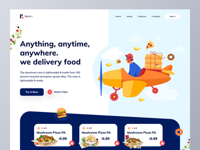 Food Delivery🍔Landing page trending trendy trend foodwebsite fooddelivery delivery app delivery ecommerce landingpage landing website webdesign web food app appdesign interface ux uiux ui app