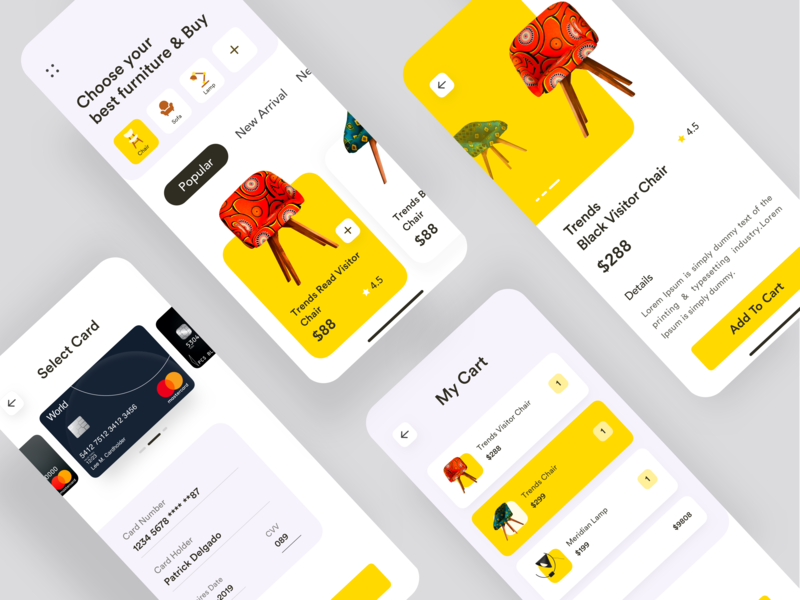 E-commerce app furniture app  design ecommerce app concept conceptual design app ui design dashboard typography ui  ux designer dashboard app dark app colorful app e-commerce app e-commerce e-commerce website landing page branding product app product page