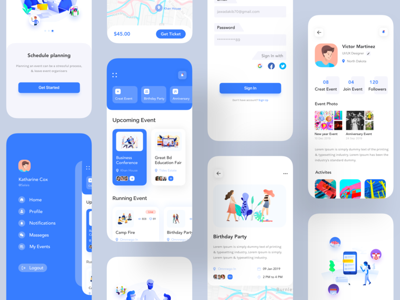 Event App UI App nice100 typography android  app illustration bank account dashboard user interface colorful app conceptual design designer ecommerce app  design events design event agency event branding party app party event app event