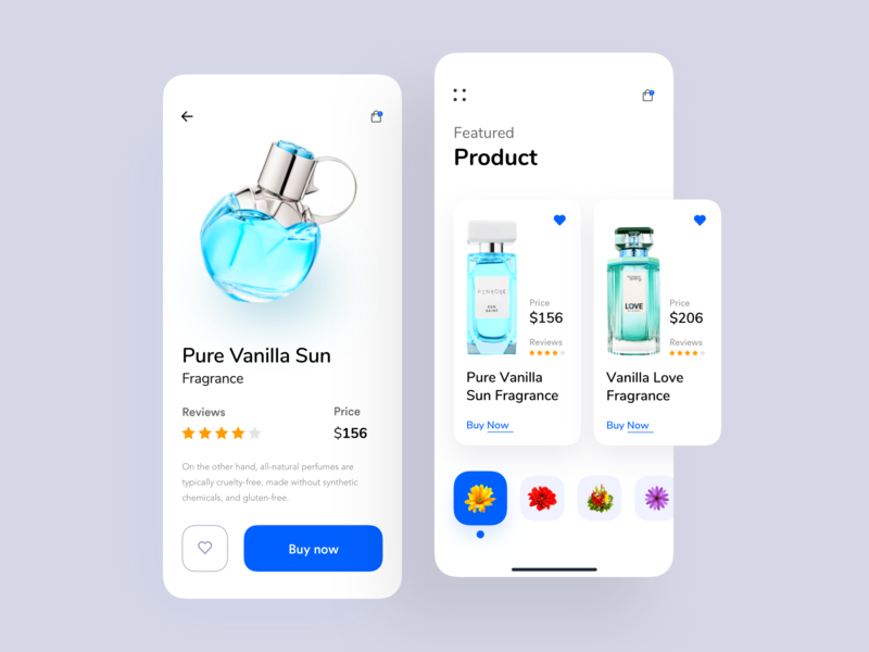 Fragrance Store UI App drink product design product page nice100 user interface conceptual design colorful app dashboard typography designer app concept ecommerce app  design app branding