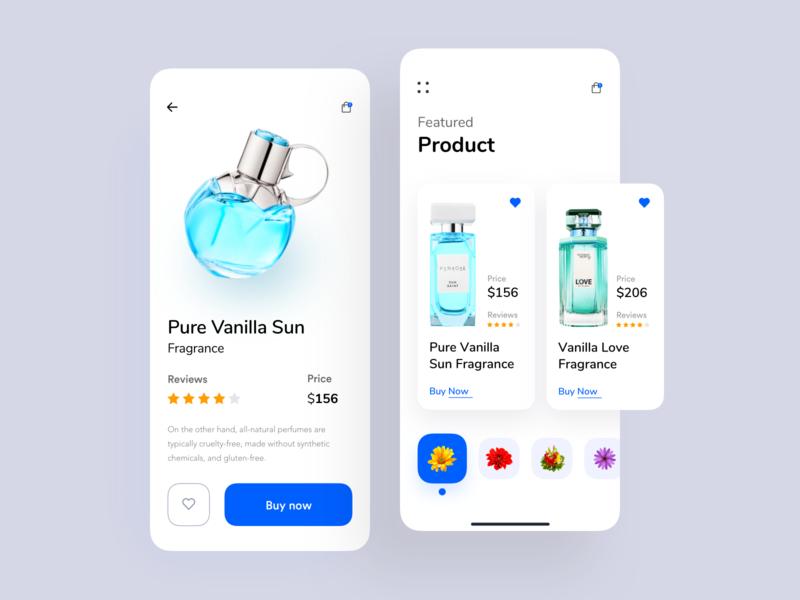 Fragrance Store UI App drink product design product page nice100 user interface conceptual design colorful app dashboard typography designer app concept ecommerce app  design app branding