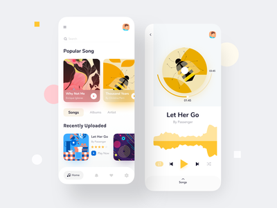 Music Player Mobile App ux ui playlist play design clean artist app music player app player minimal song music app music