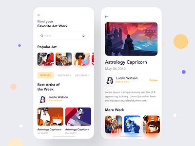 Art Gallery App Exploration trand 2020 tranding trandy art app art user interface colorful app conceptual design typography designer design app concept dashboard app  design ecommerce