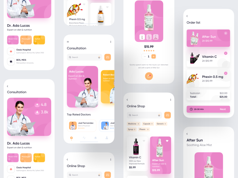Online Consultation App ux uiux ui music medicine app medicine android  app app concept user interface consultation dashboard app  design colorful app conceptual design typography ecommerce