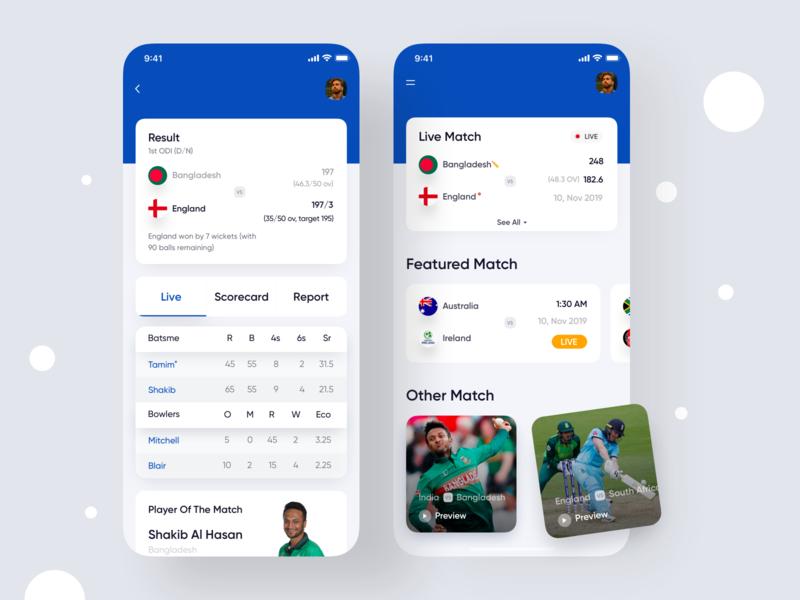 Live Sports App dashboard app user interface colorful app designer typography app concept app  design sports dashboard scorecard sports app game design game cricket