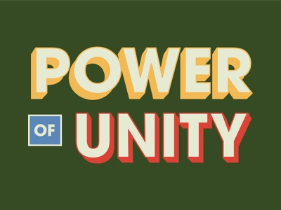 Power Of Unity card vintage flat 70s retro 3d lettering design christian sermon series sermon art