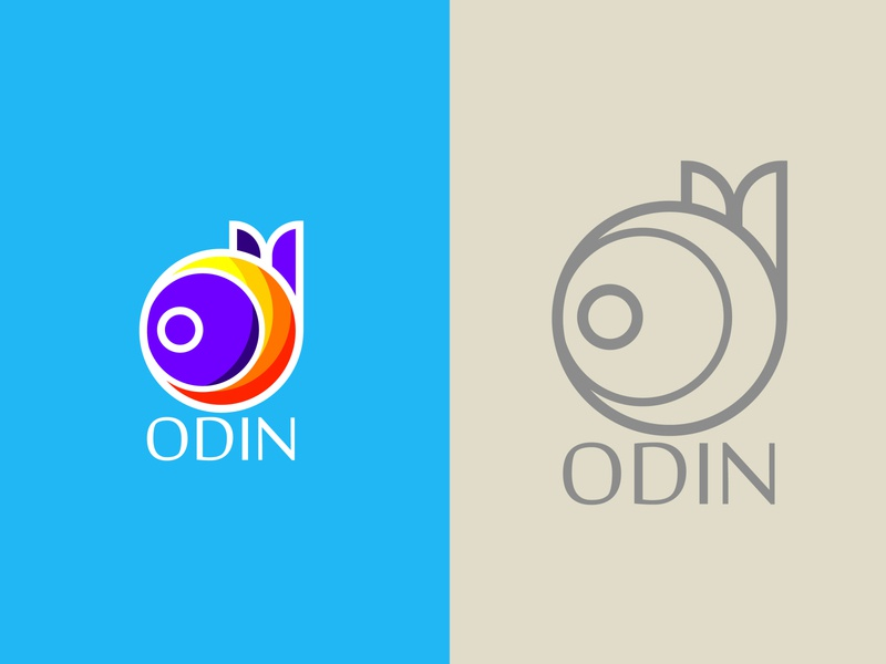 Odin logo design mashud19 simplelogo orange blue color design branding logo