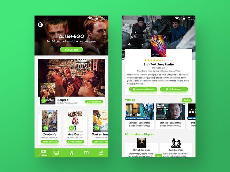 Senscritique Redesign bottom bar material ios android design application redesign user interface ux ui