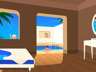 Daughter and wife at swimming pool shadow flat gradient holidays swimming pool adobe illustrator illustration wife kid