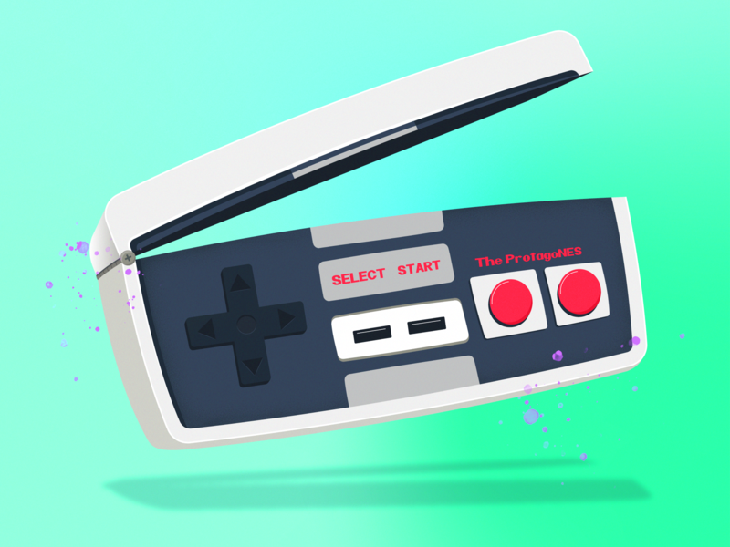 The ProtagoNES Logo game console video games illustrator cc retro nostalgic controller nintendo branding design illustration logo