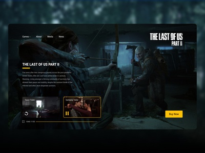 The Last of Us 2 Web Design minimal flat 2020 trend clean ux ui interfacedesign 2020 trends playstation interface webdesign website web landing page game the last of us branding