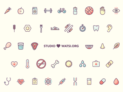 Icons for Pay It Forward Bundle + Watsi.org health fitness icons charity