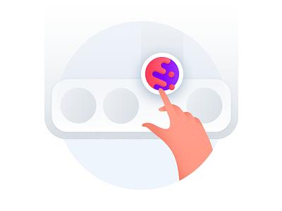 Put Cake On Your Dock hand illustration browser mobile cake