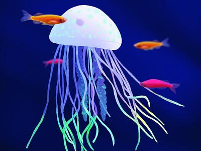 Neon Jellyfish pauwica-art personal brand web illustration debut hello dribbble procreate painting nature creature neon digital painting digital art magic ocean illustration fish jellyfish landscape sea