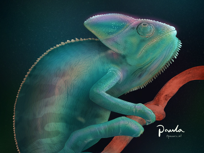Iridescent Chameleon pauwica-art personal brand web illustration hyper realism realism magic nature procreate illustration digital illustration landscape night iridescent animals chameleon