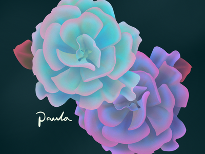 Flower puff realistic drawing realistic organic plants procreate amazing landscape editorial illustration web illustration digital illustration neon flower nature