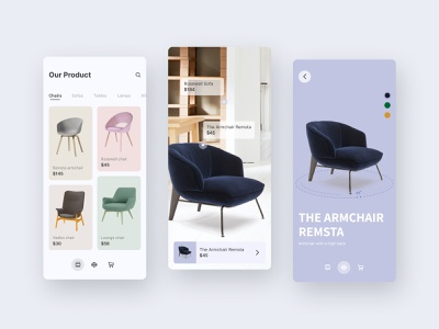 Modidad furniture app minimal branding flat vector ux icon app ui design