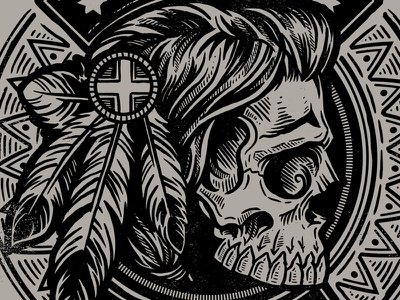 Tribal Nations - The Hero Collective derrick castle derrick straw castle nashvillemafia design graphic design illustration art americana nashville drawing castle native american native triable feathers mohawk skull