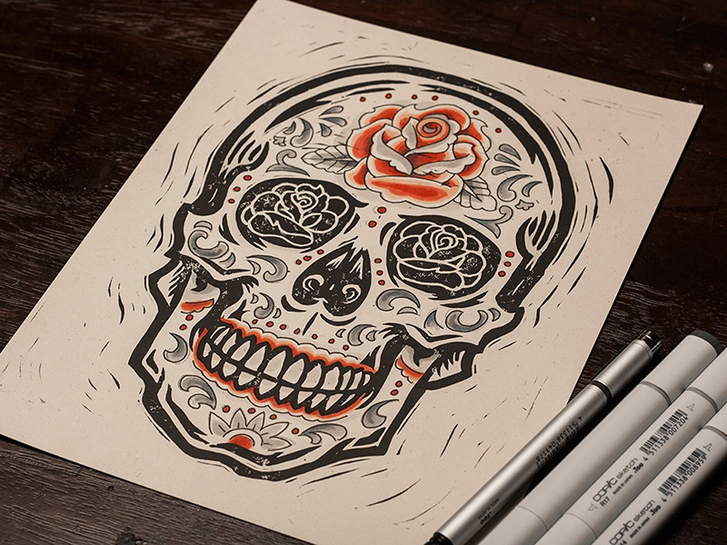 rose sugar skull block print by derrick castle dribbble