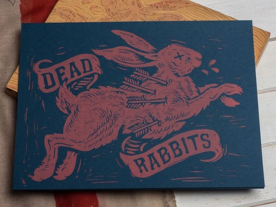 Dead Rabbits - Block Print strawcastle design illustration art folk americana woodblock block print print linocut dead rabbits