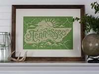 Tennessee State - Block Print